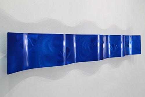 Cobalt Blue 3D Abstract Metal Wall Art Sculpture Wave - Modern Home Décor by Jon Allen - 46.5