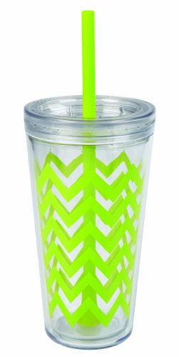 Copco 2510-0434 Minimus Chevron Tumbler with Straw, 24-Ounce, Lime Green