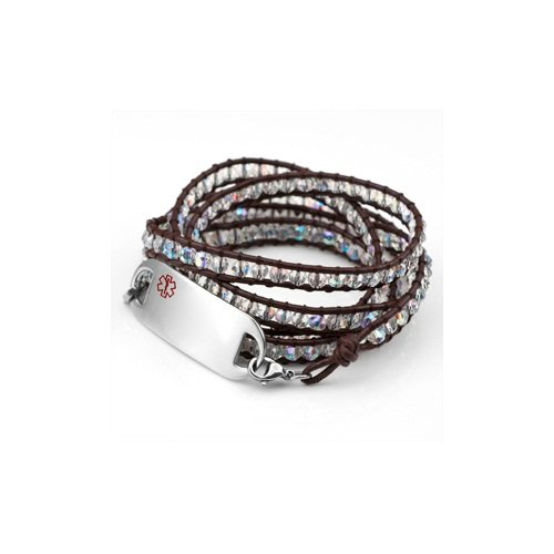 Blue Crystal Womens Beaded Wrap Bracelet with Small Medical Symbol Stainless ID Tag