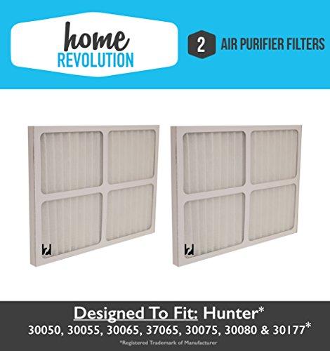 2 Hunter 30920 Home Revolution Brand Air Purifier Filter Replacement; Fits Hunter Models: 30050, 30055, 30065, 37065, 30075, 30080 & 30177