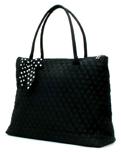Belvah Extra Large Quilted Cotton Tote Handbag (Black w/ White Bow) (Quilted Zipper Tote compare prices)