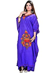 Exotic India Brilliant-Blue Kashmiri Kaftan With Ari Embroidered Flowers - Blue