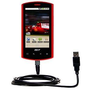 Un câble USB lisse, classique pour le Acer Liquid E avec fonctions charge et HotSync