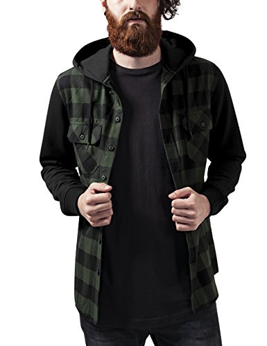 Urban Classics Hooded Checked Flanell Sweat Sleeve Shirt, Felpa Uomo, Mehrfarbig (Blk/Forest/Blk 797), Medium