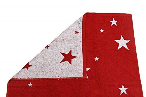 XXL Saunatuch 85x200cm Sterne Handtuch 4 Farben Auswahl Frottier Strandtuch, Farbe:Rot