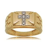 Mens Cross Ring with Diamonds in White and Yellow Gold