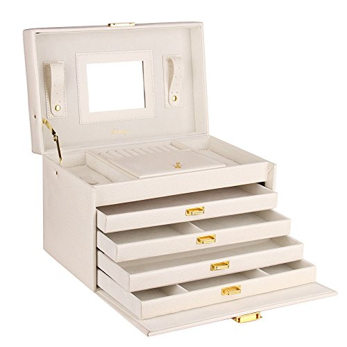 Extra Large Jewelry Box Faux Leather Cabinet Armoire Mother's Day Organizer white (Extra Large Dresser compare prices)