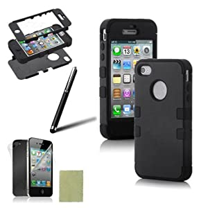 SQdeal® 3-PIECE HYBRID HIGH IMPACT HARD CASE FOR IPHONE 4 4S+STYLUS+F&B PROTECTOR (Black&Black)