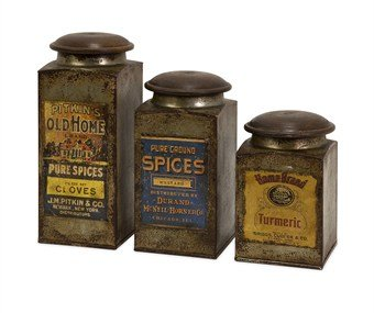Imax 73046-3 Addie Vintage Label Wood And Metal Canisters, Set Of 3