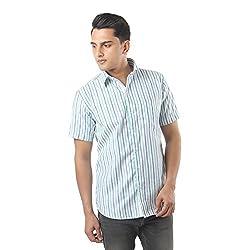 ZIDO Green Blended Men's Striped Shirts PCFLXHS1291_Green_46