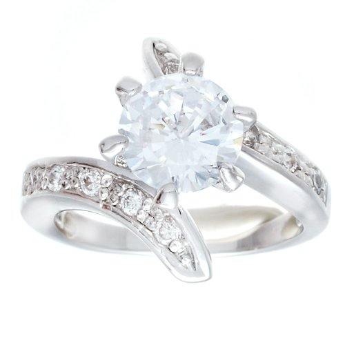 High Mount Classic Solitaire Engagement Style Fashion Ring With Round Cubic Zirconia and Twist Sides Set With Clear CZ Size 5