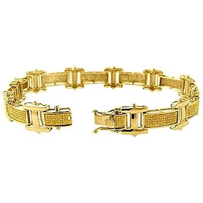 "10K Gold Yellow Round Cut Diamond 8.5"" Bracelet 1.42 Cttw"