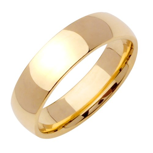 Plain Dome Wedding Band in 14k Yellow Gold (6mm)
