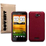"HTC One X ""Covert"" Branded Red Textured PU Leather Back Cover Case / Shell / Shieldby Covert"