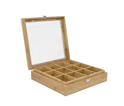 Service Ideas TB012BN  Teabox Bamboo 12 Comp W/Window (Bamboo Tea Service compare prices)
