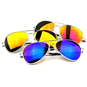 Premium Full Mirrored Aviator Sunglasses w/ Flash Mirror Lens (3-Pack Mix (1 of each))