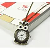 Engagement Vintage Style Personality Big Eyes Owl Pocket Watch Necklace Bronze Quartz