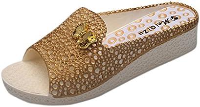 Qianle Women39s Summer Candy Color Hollows Beach Sandals Slipers