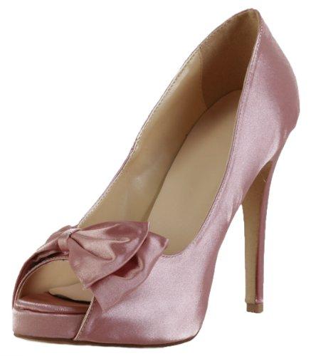 Honeystore Women'S Open Toe Satin High Heel Bows Pumps Pink 8.5 B(M) Us