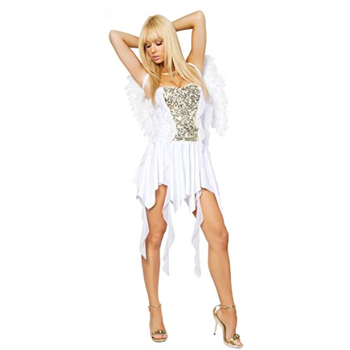 Q-Lingerie, Women's White Angel Costume Sequin Tube Skirt Wings Role Paly CS49