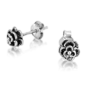 925 Oxidized Sterling Silver Tiny Rose Flower Post Stud Earrings 6mm Fashion Jewelry for Women, Teens, Girls - Nickel Free from Chuvora