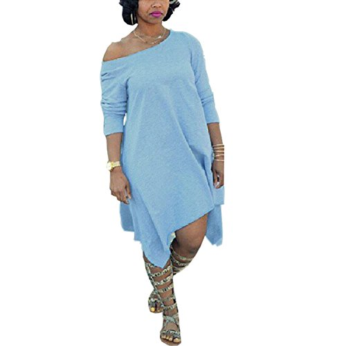 Women Plus Size Vintage Off Shoulder Long Sleeve Irregular Hem Midi Dress Blue 2XL