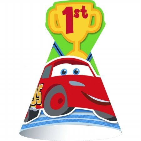 Disney 1st Birthday Cars Cone Hats (8 count) Party Accessory - 1