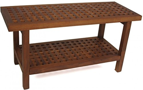 Aqua Teak Grate Bench with Shelf 36 in. Wide