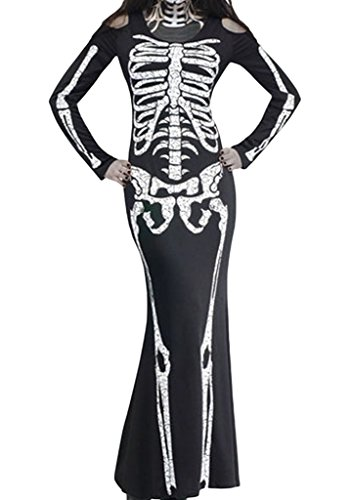 Happy Sailed Women's Skull Bones Adult Halloween Costume Dramatic Gown Dress