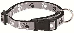 Silver Reflect Collier, Chien, S-M: 30-45 cm/15 mm, noir/gris - très réfléchissant - entièrement réglable