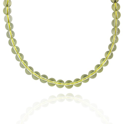 8mm Round Lemon Quartz Bead Necklace, 60