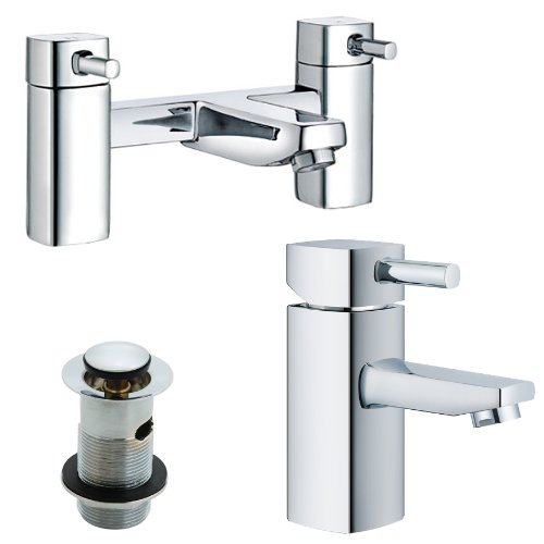 Bath & Basin Mixer Tap Set, Chrome Bathroom Taps (ICE 51) & Extras