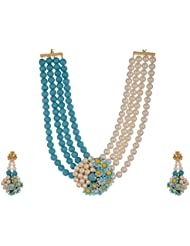 Arihant Jewellers Blue Gold Plated Multi-Strand Necklace Set For Women (ML-165)