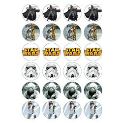 Star Wars Original Design - 24 Edible Wafer Paper Fairy/Cup Cake Toppers
