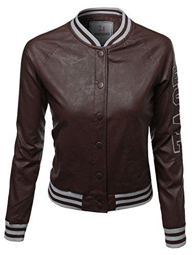 Leather PU Baseball Snap Button down Fleece Jacket Brown Size XL