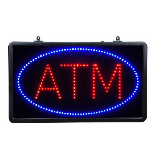 "New Business Bank Sign Decor 21""X13"" Hanging Led Light Atm Sign 2-Mode Switch"