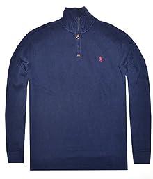 Polo Ralph Lauren Men Half Zip French Rib Cotton Sweater (S, Hunter navy)