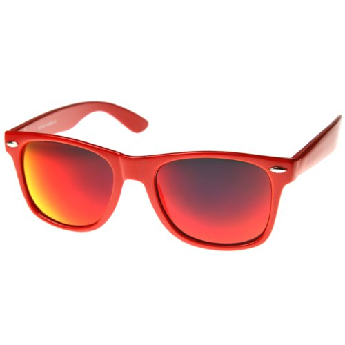 Reflective Color Mirror Lens Neon Color Wayfarers Style Sunglasses (With Free Microfiber Pouch)
