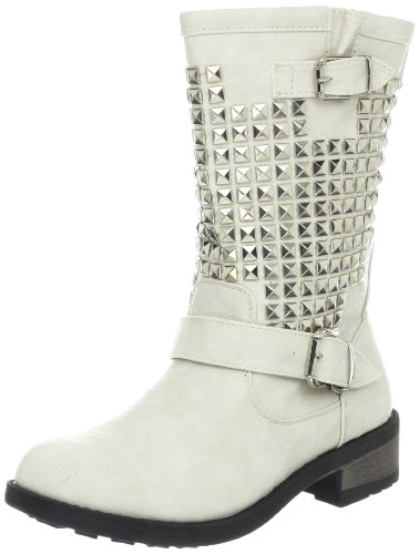 Wanted Shoes Women's Motor Motorcycle Boot,White,7.5