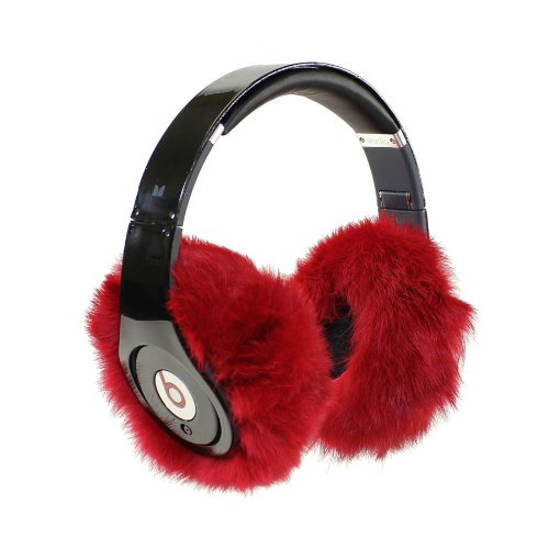 Earmuffies - Fur Earmuff Covers For Headphones - Large Rabbit Red (Fits Beats Beats Studio/Executive And Other Popular Headphones)