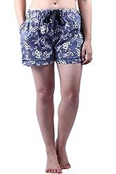 Vixenwrap Sky Blue Floral Print Shorts(XL_Blue)