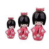 【ノーブランド 品】3pcs 日本 木製 こけし 人形 おもちゃ 装飾品 ギフト- ピンク