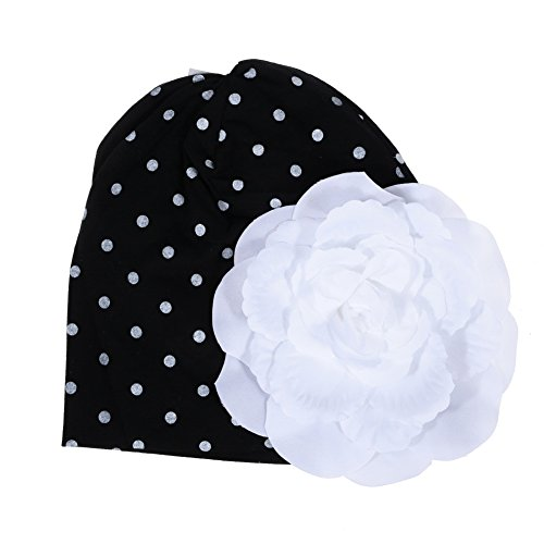 Click Down 1pcs Baby Newborn Boy Girl White Dot Hat Cap with White Flower--Black - 1