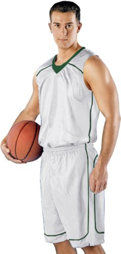 Alleson 548Y Youth Mock Mesh Custom Basketball Jerseys WH/DG - WHITE/DARK GREEN YM alleson athletic youth unisex reversible basketball shorts kelly green white s