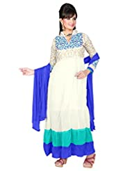 Trendz Apparels White 60 Gm Georgette Anarkali Suit Salwar Suit
