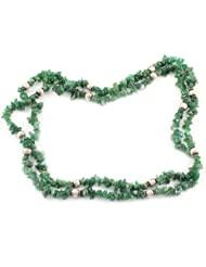925 Silver Green Stone Rope Gemstone Necklace For Women 11703