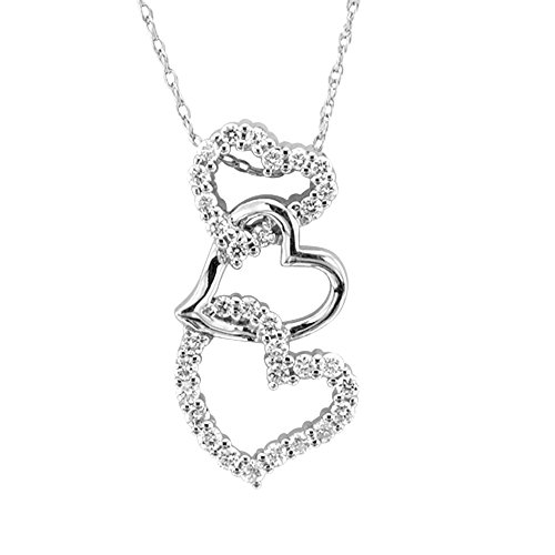 14K White Gold Diamond Heart Pendant Necklace (Gh, I1-I2, 0.32 Carat)