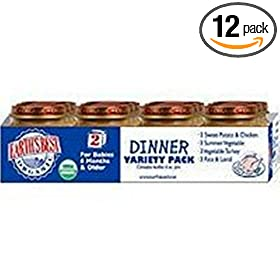 Earth's Best 2nd Dinner Variety Pack, 4 Ounce Jar (Pack of 12)