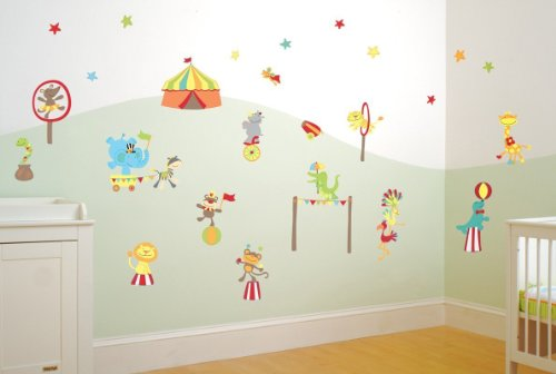 Funtosee Mr. Giggles Circus Boys Nursery And Bedroom Decal Kit, Circus front-356197