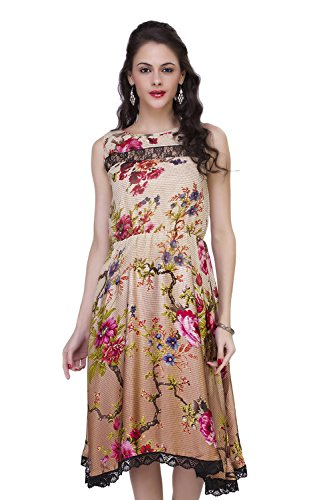 ISHIN Floral Printed Women's Georgette & Satin Brown Cocktail Party Wear Sleeveless Western Dress